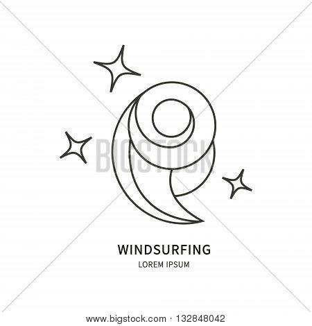 Windsurfing. Vector label design wave line. Isolated background single image.