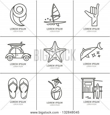 Vector set of icons line for windsurfing. Board with a sail wetsuit surfboard wave sail. For outdoor enthusiasts of the sea and an active lifestyle. Family summer vacation.