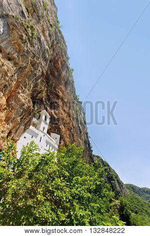 view on Ostrog ortodox monastery. Montenegro