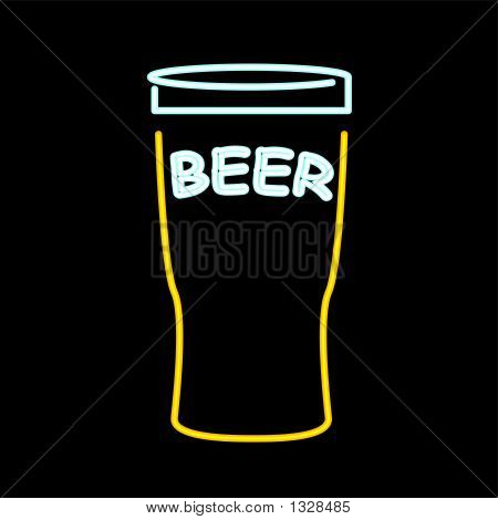 Neon Beer Sign - Vector