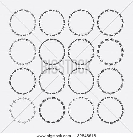 Set of circle border decorative arrows symbol patterns and design elements for frameworks and banners