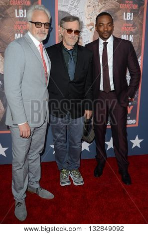 LOS ANGELES - MAY 10:  Bradley Whitford, Steven Spielberg, Anthony Mackie at the All The Way LA Premeire Screening at the Paramount Studios on May 10, 2016 in Los Angeles, CA