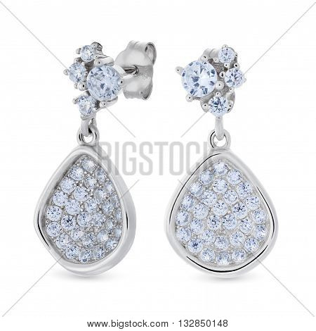 A Pair Of Silver Pendants Earrings With Diamonds In The Shape Of A Pear
