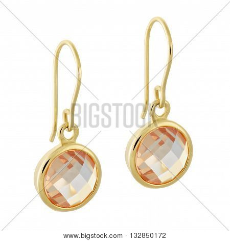 A Pair Of Gold Earrings With A Shiny Gemstone In The Form Of A Circle