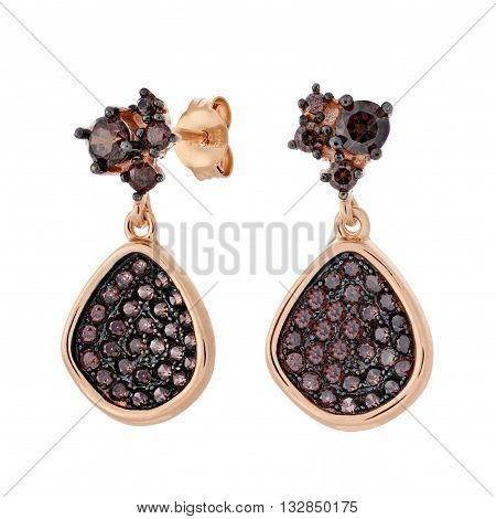 A Pair Of Gold Pendants Earrings With Shiny Brown Gemstone In The Shape Of A Pear