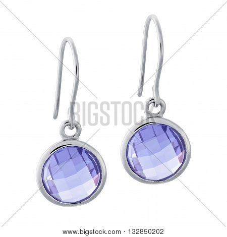 A Pair Of Silver Earrings With A Gemstone In The Form Of A Circle
