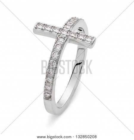 A Single Silver Ring With Diamonds In The Shape Of A Cross