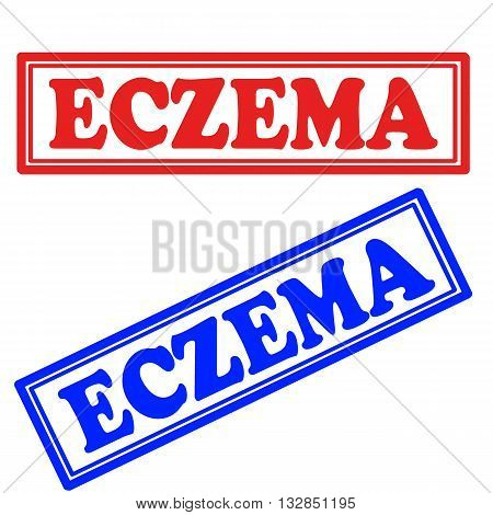 Set of stamps with text Eczema,vector illustration