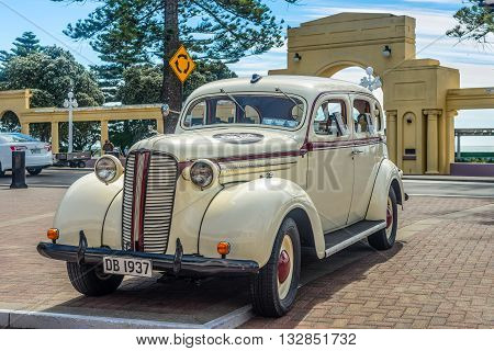 Wellington New Zealand - November 19 2014: Classic 1937 Dodge D5 'Charlie' automobile parked on Marine Parade in the art deco town of Napier Hawke's Bay New Zealand.