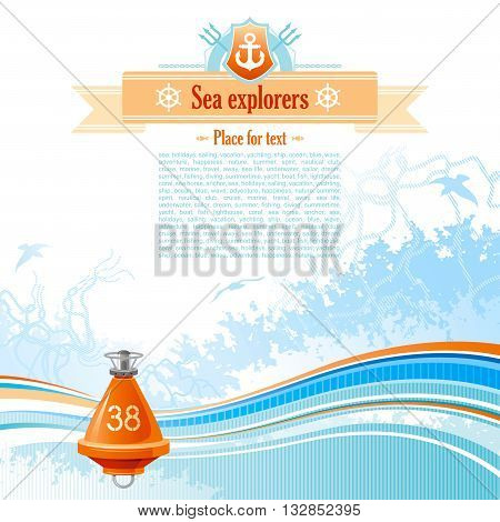 Sea background in blue colors with net, foam, and seagulls and buoy. Copyspace for your text