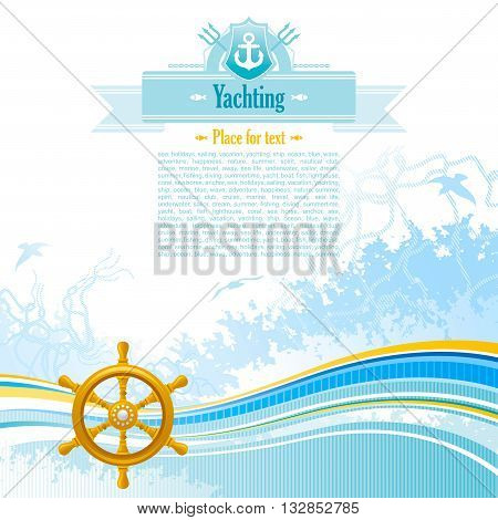 Sea background in blue colors with net, foam, and seagulls and helm. Copyspace for your text