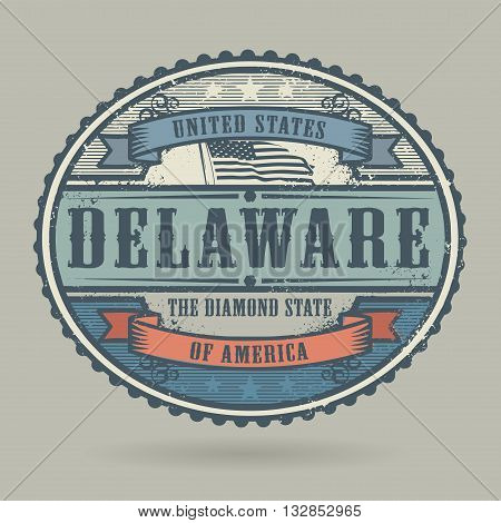 Vintage stamp with the text United States of America, Delaware, vector illustration