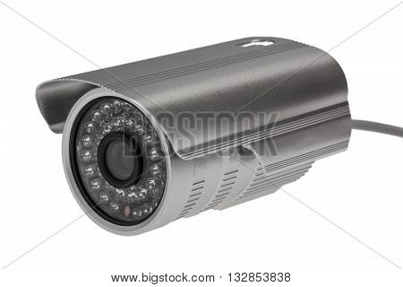 External security surveillance camera with night vision LED backlight isolated on white background