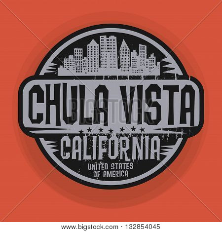 Stamp or label with name of Chula Vista, California, vector illustration
