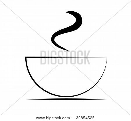 Coffee cup icon. Hot steaming teacup on plate.silhouette symbol. Vector isolated illustration