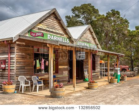 ROSA BROOK, AUSTRALIA - JUNE 4, 2016: A general store in Rosa Brook in the Margaret River area of Western Australia is a reminder of the past.