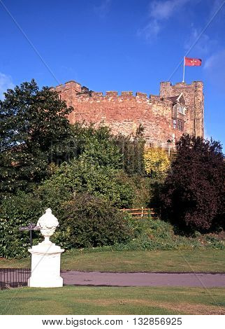 View of the Norman castle with a flag atop Tamworth Staffordshire England UK Western Europe.