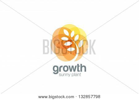 Growing Plant abstract Logo Negative space Sprout Logotype icon