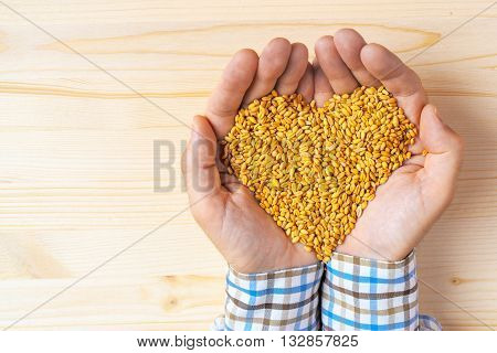 Handful of harvested wheat grains heart-shaped pile top view of adult caucasian male farmer holding pile of maize grains on wooden table.