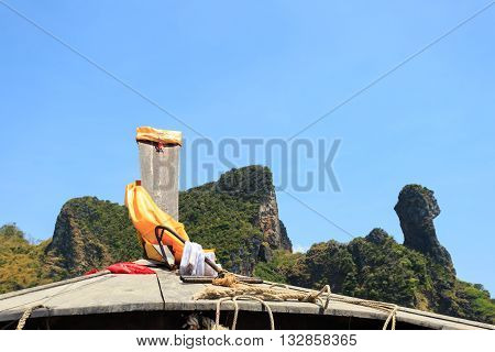 Head Of Longtail Boat In The Thailand Sea