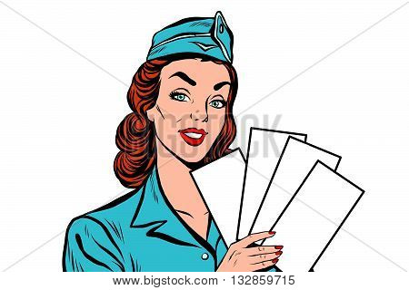 Girl retro stewardess with white forms brochure ticket pop art retro vector. Plane tickets. Aviation and travel. Tourism and recreation, white background