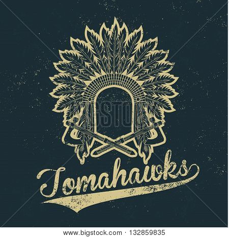 Vintage native american indian chief headdress old grunge effect tee print vector design illustration. Premium quality superior logo concept. T-shirt emblem