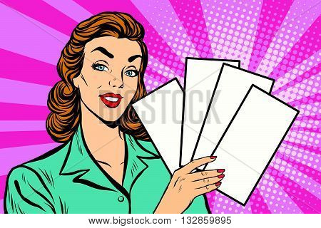 Girl promo with booklets pop art retro vector. Advertising tickets announcement