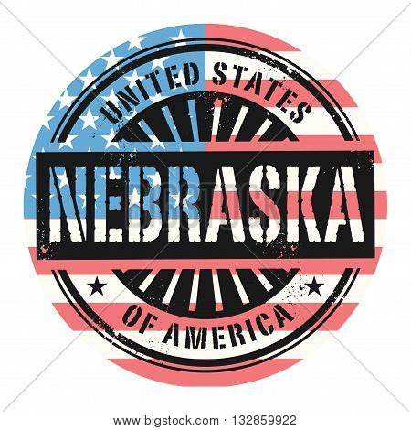 Grunge rubber stamp with the text United States of America, Nebraska, vector illustration
