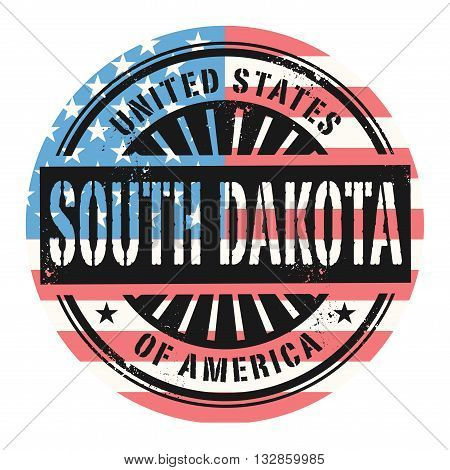 Grunge rubber stamp with the text United States of America, South Dakota, vector illustration