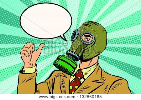 Gas mask man thumb up pop art retro vector. Environmental business gas mask