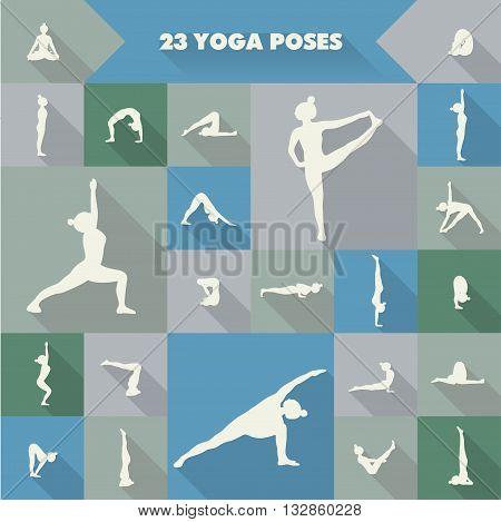 Set of twenty three yoga poses silhouettes. Girl practicing asanas.