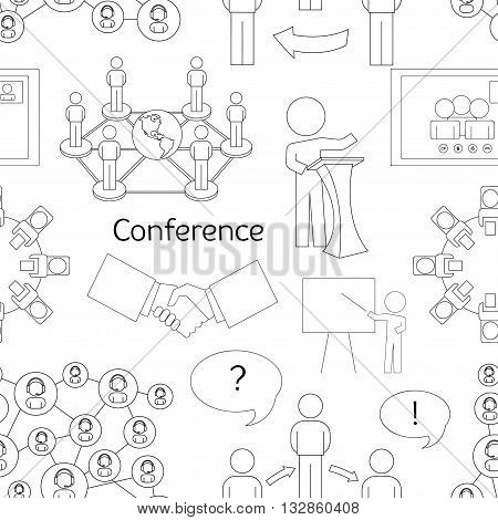 Conference icons pattern with business people workgroup communication isolated vector illustration