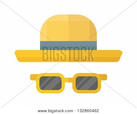 Yellow woman hat isolated on white background and flat vector yellow hat. Fashion sun protection yellow hat and summer yellow hat color design. yellow hat style accessory, modern protection lady hat.