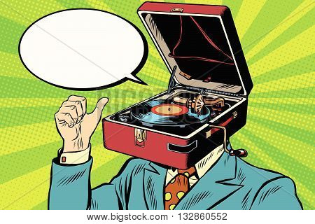 Retro lover music man gramophone phonograph pop art retro vector