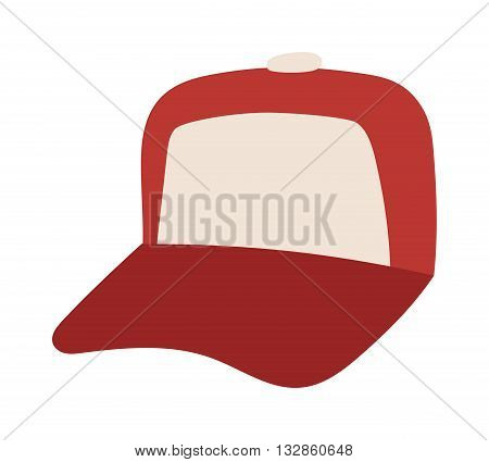 Red baseball cap isolated on white and baseball cap vector. Sport baseball cap and baseball cap fashion clothing hat. Teenager baseball cap textile blank sport cotton uniform casual template side.