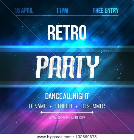Dance Retro Party Poster Template. Night Retro Dance Party flyer.  Club party design template on dark colorful background