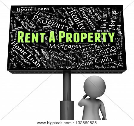Rent Property Represents Sign Offices And Housing 3D Rendering
