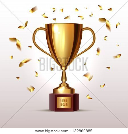 Isolated Realictic Gold Cup With Place For Your Text. And Gold Confetti. Vector Illustration. Eps 10