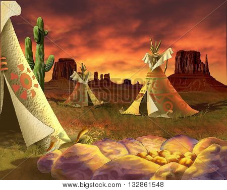 Digital Painting Illustration of a group of tepees Traditional Houses of Native Americans in Realistic Cartoon Style.