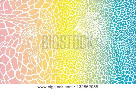vector background illustration of giraffe and leopard