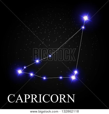 Capricorn Zodiac Sign with Beautiful Bright Stars on the Background of Cosmic Sky Vector Illustration EPS10