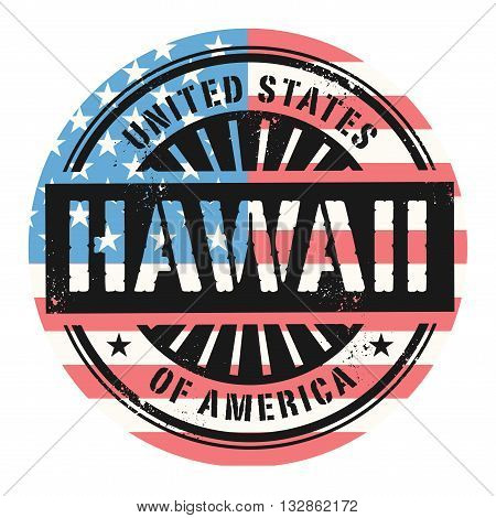 Grunge rubber stamp with the text United States of America, Hawaii, vector illustration