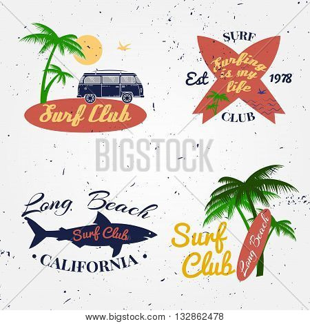 Set Of Surf Club Concept Vector Summer Surfing Retro Badge. Surfer Club Emblem , Rv Outdoors Banner,