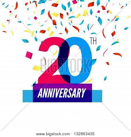 Anniversary design. 20th icon anniversary. Colorful overlapping design with colorful confetti.