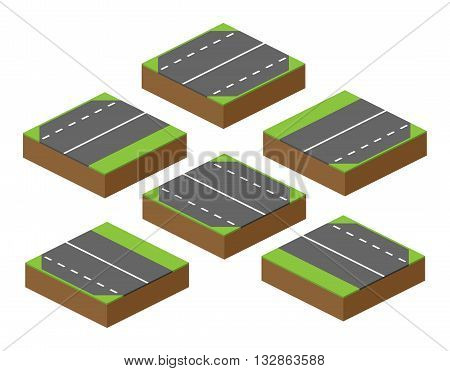 set of vector bricks with parts of road applicable to the computer game building roads and nature attachable with other parts of road