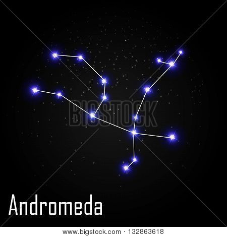 Andromeda Constellation with Beautiful Bright Stars on the Background of Cosmic Sky Vector Illustration EPS10