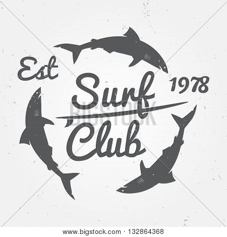 Surf Club Concept Vector Summer Surfing Retro Badge. Surfer Club Emblem , Outdoors Banner, Vintage B