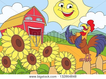 Illustration of the summer morning on the farm with sunflowers and rooster singing a song.