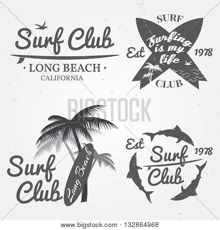 Set of Surf club concept Vector Summer surfing retro badge. Surfer club emblem outdoors banner vintage background. Boards palms and shark. Surf icon design.