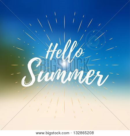 Vector hello summer background. Hello summer vector illustration on blurred background with sun rays.